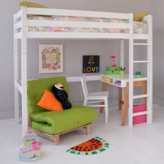An Image of Buddy Childrens Beech Highsleeper Loft Bed With Desk and Futon Chair Bed
