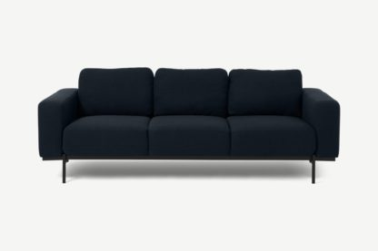 An Image of Jarrod 3 Seater Sofa, Midnight Blue Weave