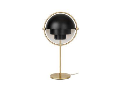 An Image of Gubi Multi Lite Table Lamp Brass Black Shade
