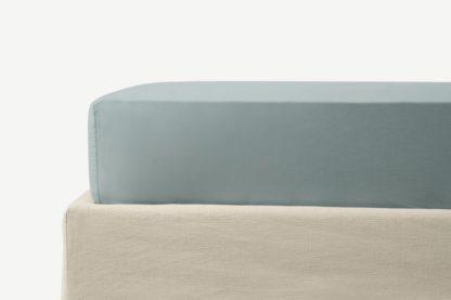 An Image of Zana 100% Organic Cotton Stonewashed Fitted Sheet, King, Seafoam