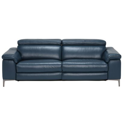An Image of Paolo Leather 3.5 Seater Recliner Sofa, Melbourne Navy Blue M5661