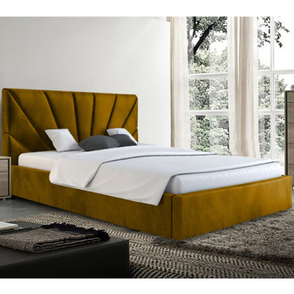 An Image of Hixson Plush Velvet Small Double Bed In Mustard