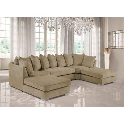 An Image of Boise U-Shape Plush Velour Fabric Corner Sofa In Parchment