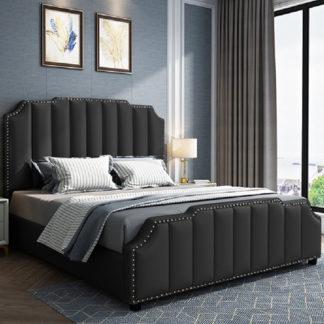 An Image of Abilene Plush Velvet Small Double Bed In Black