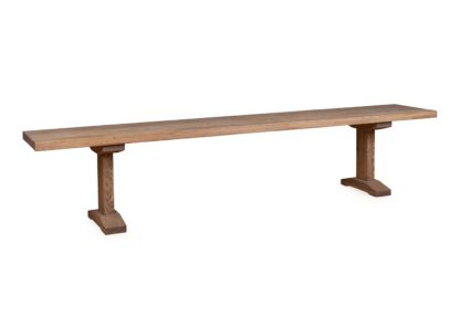 An Image of Heal's Lisbon Bench 220x35cm Smoked Oiled Oak Straight Edge Not Filled
