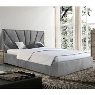 An Image of Hixson Plush Velvet Double Bed In Grey