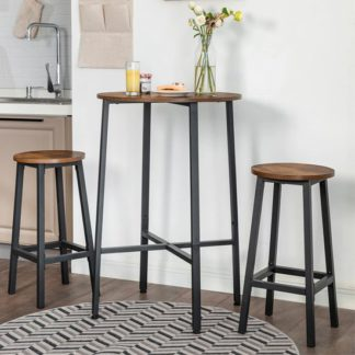 An Image of Gulf Round Rustic Brown Pub Style Bar Table With 2 Bar Stools