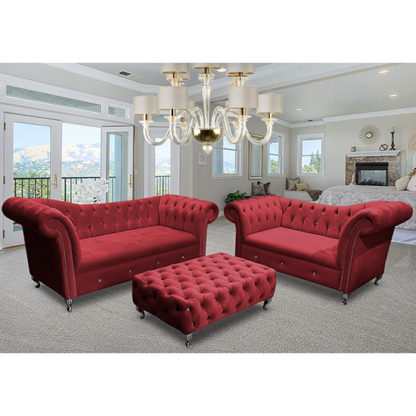 An Image of Izu Plush Velvet 2 Seater And 3 Seater Sofa Suite In Red
