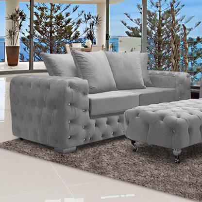 An Image of Worley Malta Plush Velour Fabirc 3 Seater Sofa In Silver