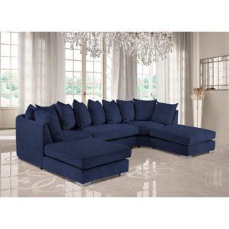 An Image of Boise U-Shape Plush Velour Fabric Corner Sofa In Slate