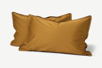 An Image of Hylia Washed Cotton Satin Pair of Pillowcases, Dark Ochre