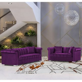 An Image of Kenosha Velour Fabric 2 Seater And 3 Seater Sofa In Boysenberry