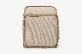 An Image of Kirby Square Textured Pouffe, Jute & Taupe Cotton Blend