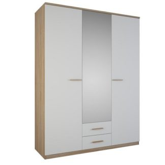 An Image of Corban Mirror Wardrobe In Brushed Oak And White Pearl