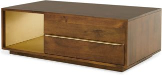 An Image of Anderson Coffee Table, Mango Wood & Brass