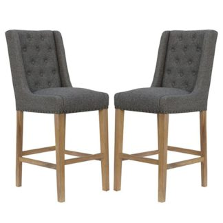 An Image of Rugeley Dark Grey Fabric Button Back Bar Stools In Pair
