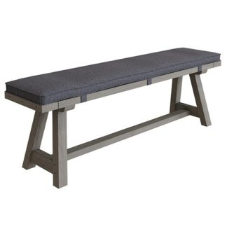 An Image of Floyd Wooden 160cm Dining Bench With Cushion In Grey Oak