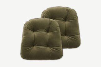 An Image of Julius Set of 2 Velvet Top Seat Pads, 40 x 40cm, Pistachio Green