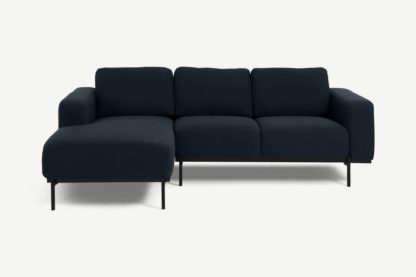 An Image of Jarrod Left Hand Facing Chaise End Corner Sofa, Midnight Blue Weave