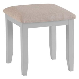An Image of Tyler Wooden Dressing Stool In Grey