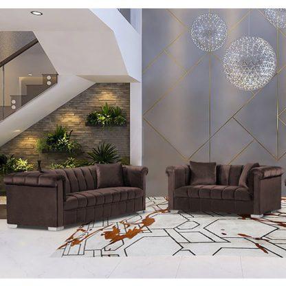 An Image of Kenosha Velour Fabric 2 Seater And 3 Seater Sofa In Mushroom