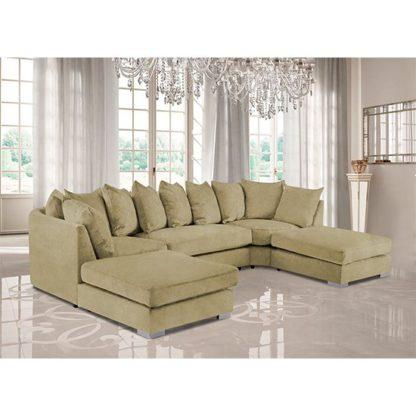 An Image of Boise U-Shape Plush Velvet Corner Sofa In Saffron