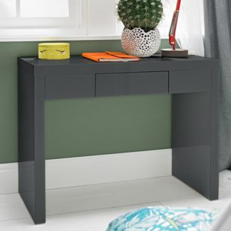 An Image of Puro Dressing Table In Charcoal High Gloss With 1 Drawer
