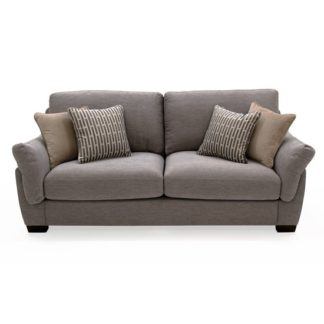 An Image of Beckett Fabric 3 Seater Sofa In Taupe