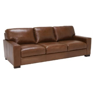 An Image of Lorenza Leather 3 Seater Sofa, Fibre Seats