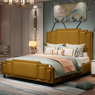 An Image of Enumclaw Plush Velvet Super King Size Bed In Mustard