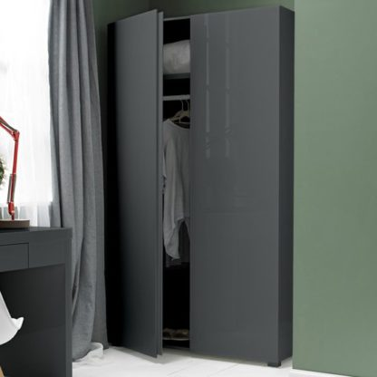 An Image of Curio Modern Wardrobe In Charcoal High Gloss With 2 Doors