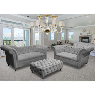 An Image of Izu Plush Velvet 2 Seater And 3 Seater Sofa Suite In Grey