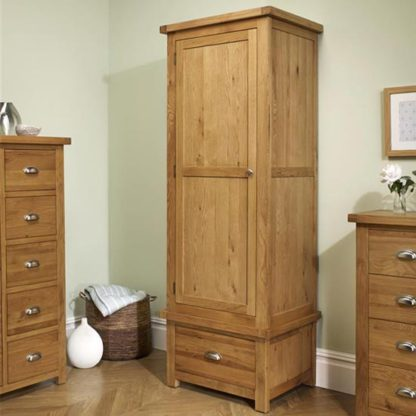 An Image of Woburn Wooden Wardrobe In Oak With 1 Door And 1 Drawer
