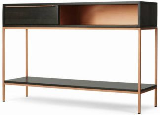 An Image of Anderson Console Table, Mocha Mango Wood & Copper