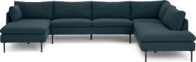 An Image of Zarina Right Hand Facing Corner Sofa, Aegean Blue