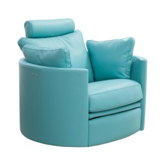 An Image of Fama Moon Leather Rocking Swivel Chair