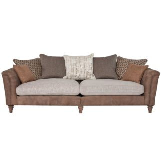 An Image of Darwin Grand Split Frame Pillow Back Sofa, Leather and Fabric Mix