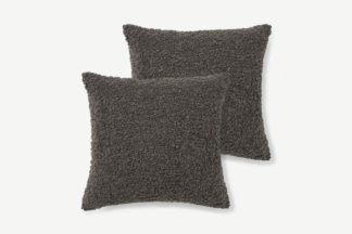 An Image of Mirny Set of 2 Boucle Cushions, 45 x 45cm, Charcoal Grey