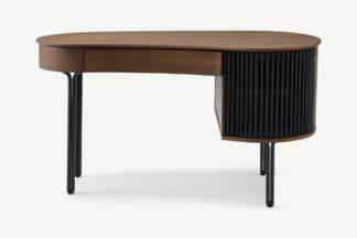 An Image of Zaragoza Desk, Walnut & Charcoal Black