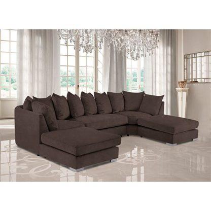 An Image of Boise U-Shape Plush Velour Fabric Corner Sofa In Taupe