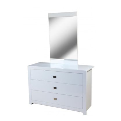 An Image of Amentis Dresser With Mirror In White High Gloss And 3 Drawers