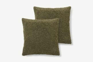An Image of Mirny Set of 2 Boucle Cushions, 55 x 55cm, Moss Green