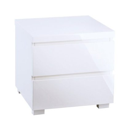 An Image of Curio Bedside Cabinet In White High Gloss With 2 Drawers