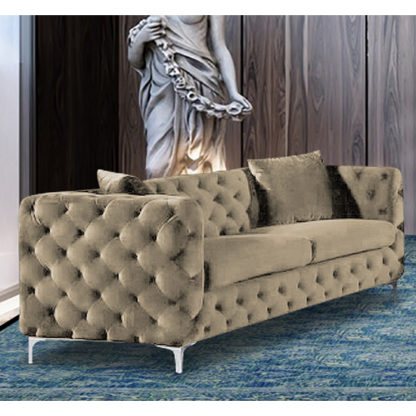 An Image of Mills Malta Plush Velour Fabric 3 Seater Sofa In Parchment