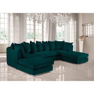 An Image of Boise U-Shape Plush Velour Fabric Corner Sofa In Emerald