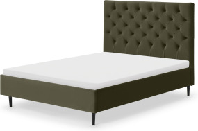 An Image of Skye Double Bed, Sycamore Green Velvet with Black Legs