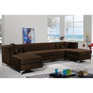 An Image of Asbury U-Shape Plush Velvet Corner Sofa In Taupe