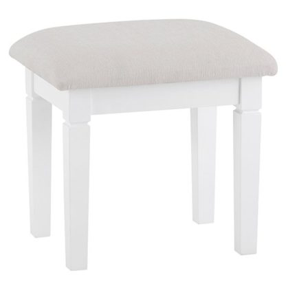 An Image of Skokie Wooden Dressing Stool In Classic White