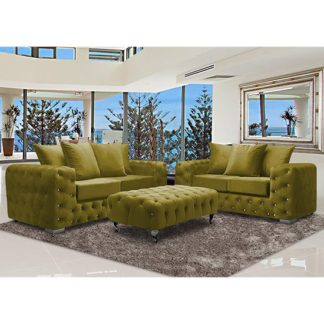 An Image of Worley Velour Fabric 2 Seater And 3 Seater Sofa In Grass