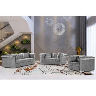 An Image of Kenosha Malta Plush Velour Fabric Sofa Suite In Silver